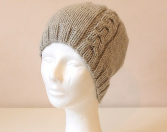 Hand knit light grey cable hat in alpaca wool