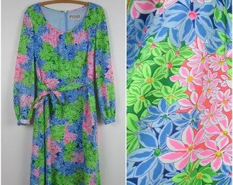 Vintage 60s/70s Bright Floral Dress | Scoop Neck Full Skirt Long Sleeves | Bust 38