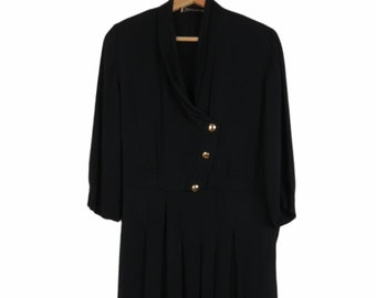 Vintage 40s/50s Black Dress with Gold Buttons Women's Bust 38