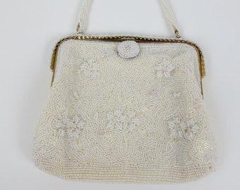 Vintage 50s 60s Small White Beaded Handbag