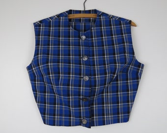 60s/70s Blue Plaid Cropped Blouse - Vintage Sleeveless Blouse - Bust 38 (B7)