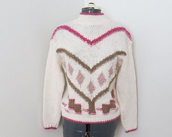 Vintage 1990s Cream Pink & Brown Heart Chunky Sweater | Womens Bust 33