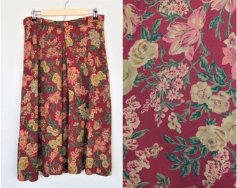 """Vintage 90s Muted Red Floral Cottagecore Midi Skirt by Liz Sport Waist 31-34"""" Front Pleat"""