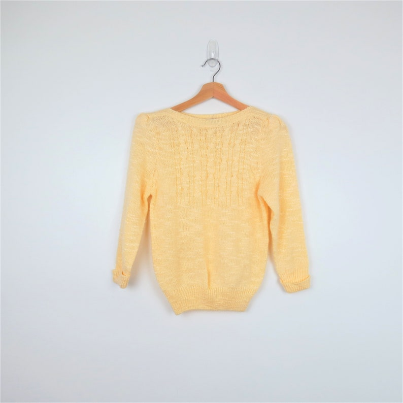 1980s Yellow Cableknit Puff Sleeve Sweater  Spice of Life 3/4 image 0
