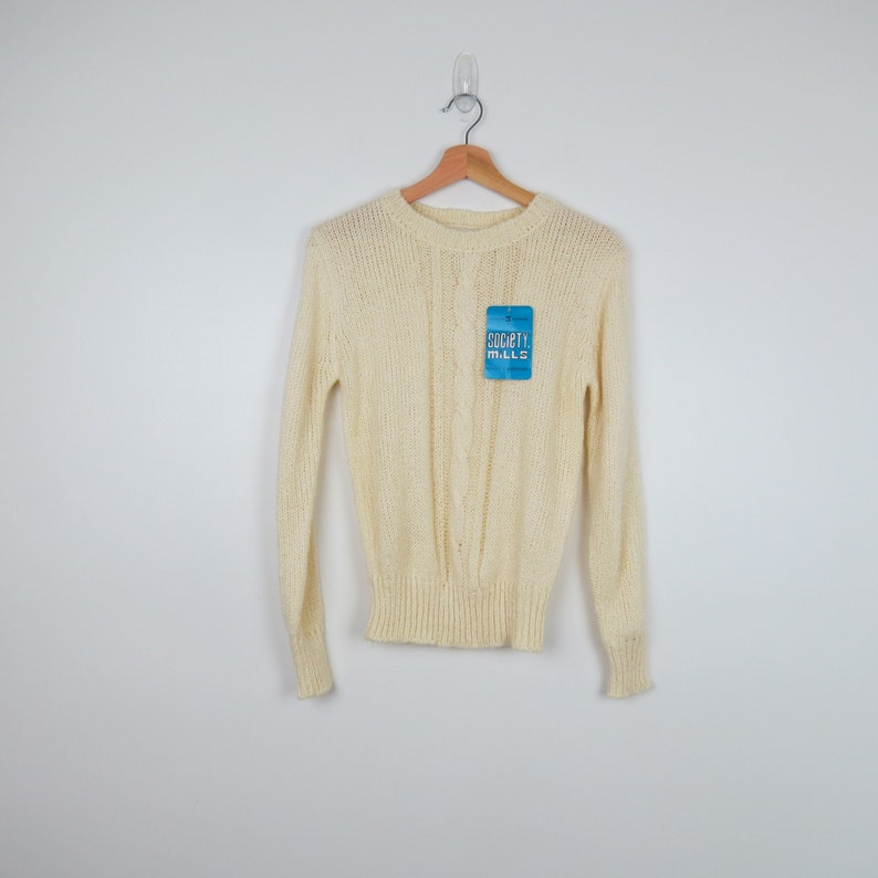 1970s Cream Cableknit Sweater  Society Mills Deadstock image 0