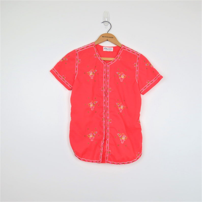Vintage 60s Hand Embroidered Chinese Blouse  Lily Orange image 0