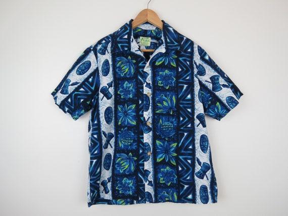 1950s Ui-Maikai Blue & White Hawaiian Shirt - Ches
