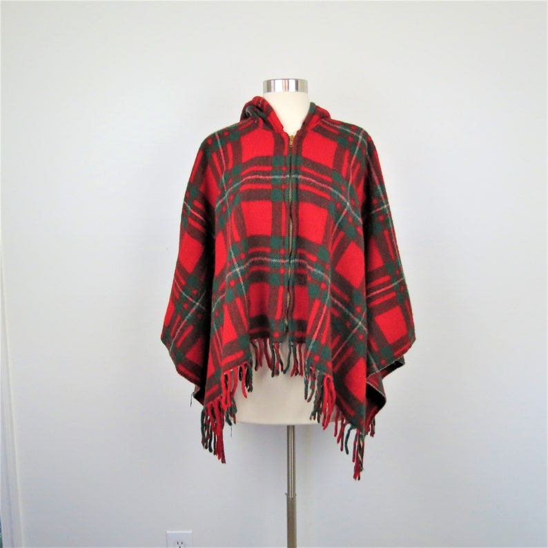 Vintage Women's 60s Hooded Plaid Poncho Cape  Red & Green image 0