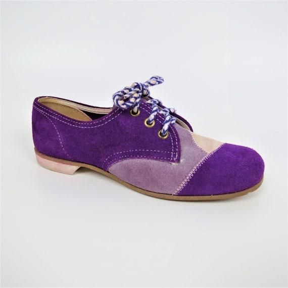 Vintage 60s/70s Purple Patchwork Suede Lace Up Sho