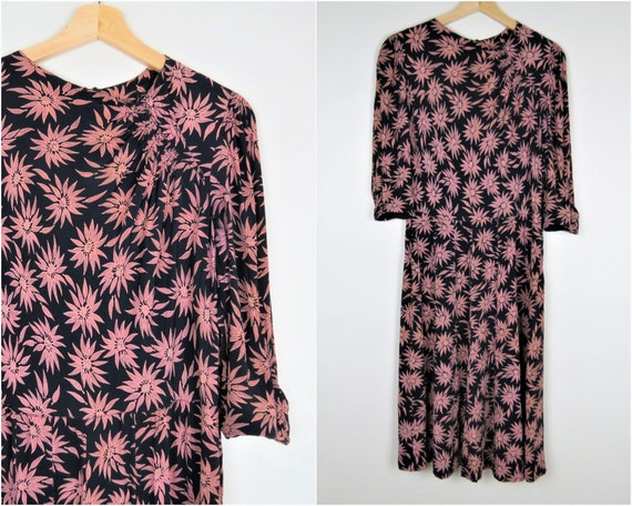Vintage 30s/40s Rayon Floral Dress | Pink Floral P