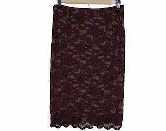 Vintage 90s Burgundy Stretch Lace Pencil Skirt Womens Size M