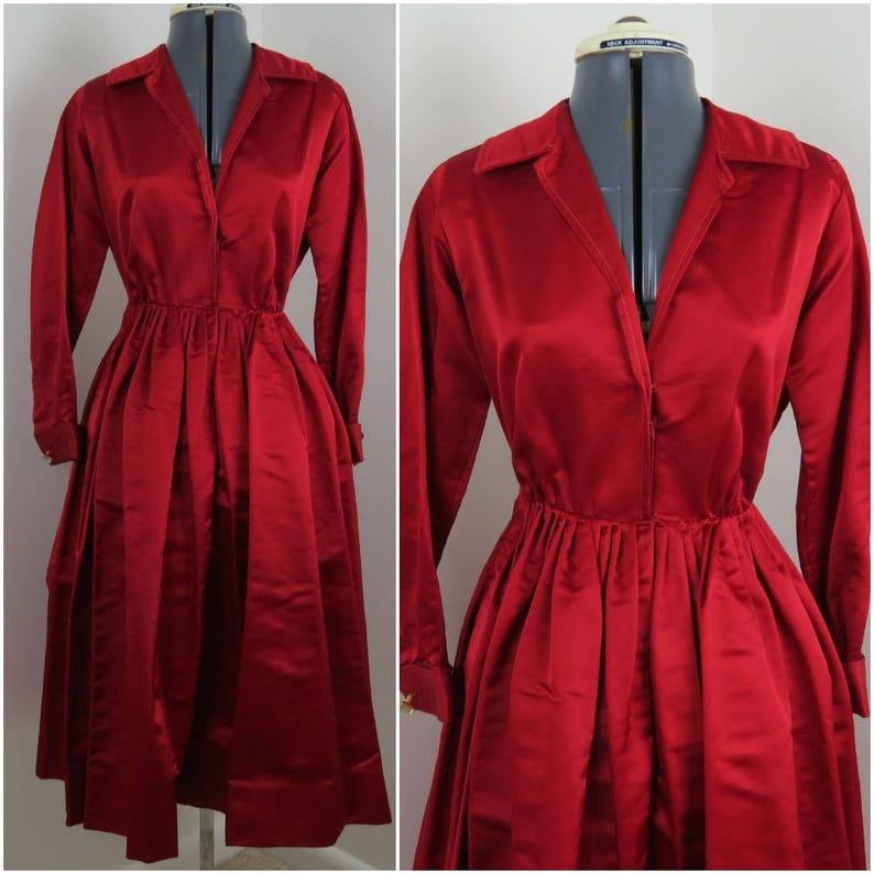 1950s 1960s Vintage Red Satin Dress with Rhinestone Cufflinks image 0
