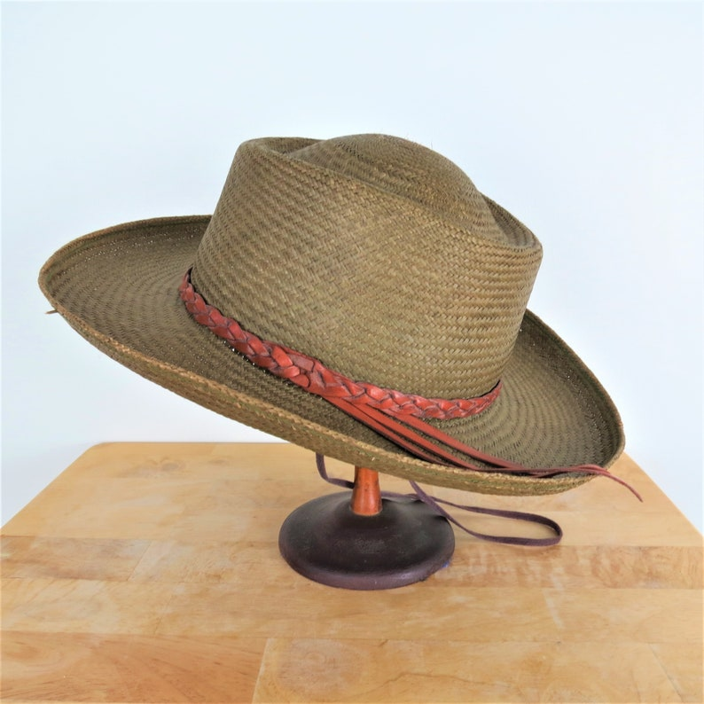 Vintage 80s 90s Green Straw Western Hat Leather Band  Fiesta image 0