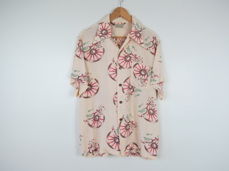Vintage 1950s Novelty Cabana Shirt Western California Centennial Button Down Shirt by Cisco Casuals Chest 44