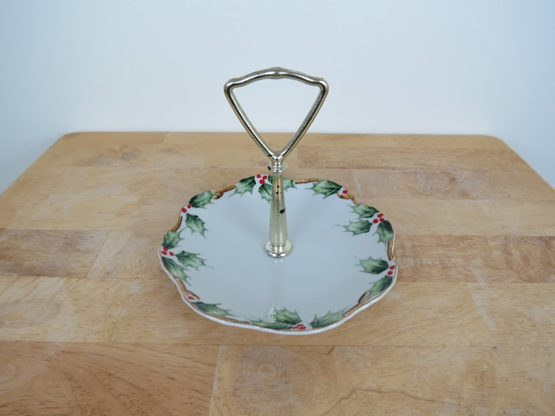 Vintage Lefton Holly Candy Dish  Hand Painted Christmas image 0