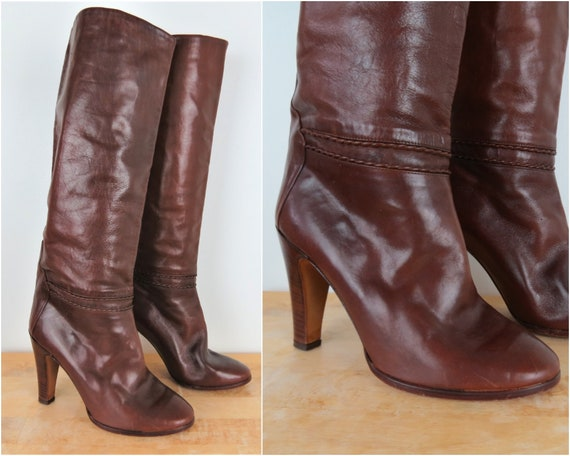Vintage 70s/80s Brown Knee High Leather Boots | Si