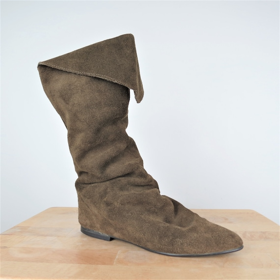Vintage 80s Brown Suede Slouchy Fold Over Boots  