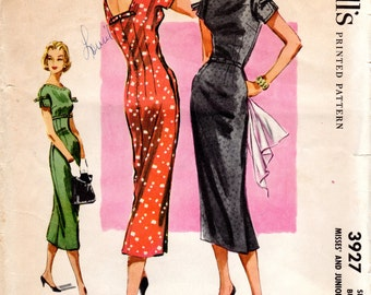 1950s Fitted Slim Sheath Dress Pattern - Vintage McCall's 3827 - Bust 31 1/2