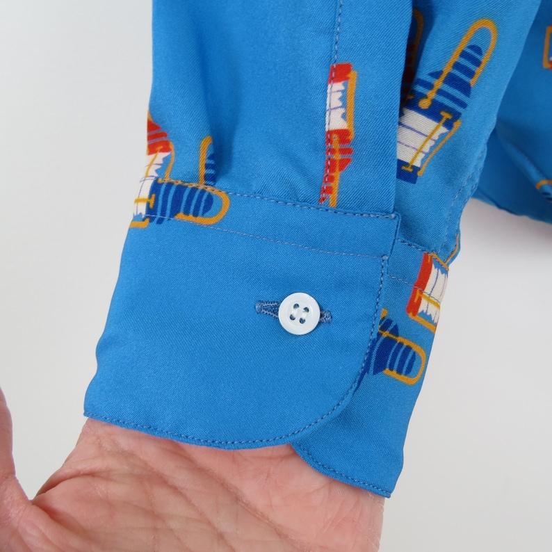 Vintage 80s Womens Red Blue Lantern Print Button Down Shirt Bust 38 Michel Berger