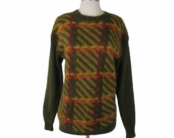 Vintage 80s Green Plaid Mohair Pullover Sweater Men's Size S