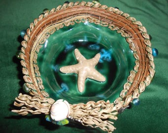 Adorable star fish pine needle basket bowl  with star fish and beads embellishments