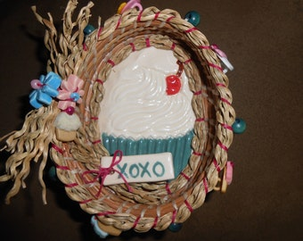 Yummy Cupcake  Pine Needle Basket with hugs and kisses for that special some one