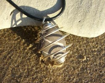 Black and White Tumbled Stone Caged Pendant