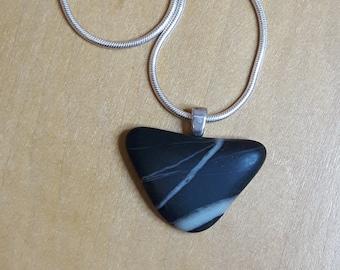 Black & White Tumbled Stone Pendant