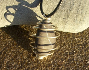Black and White Striped Stone Caged Pendant