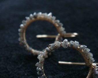 "grey diamond earrings diamond gold earring, edgy feel 1"", gold circle earrings, rough diamond jewelry, april birthstone, gemstone dangle raw"