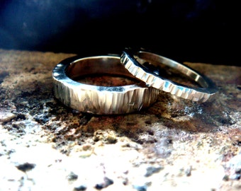 rustic wedding ring set, 2mm, 4mm, or 5mm 6mm ... 12mm etc,matching wedding bands, matching couple jewelry, sterling silver ring