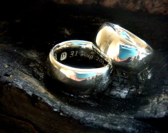 wedding ring set, 10mm, matching wedding bands, matching couple jewelry, handmade wedding ring, sterling silver ring, with engraving, chunky
