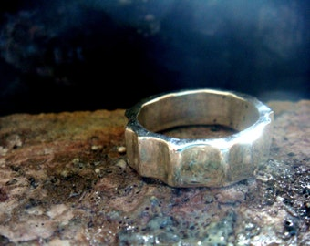 6mm silver band ring, VIKING PARALLEL, heavy sterling silver ring, mens ring, womens ring, chunky,  unisex, rustic feel, your size
