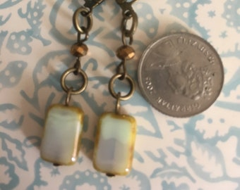 Vintage Style pale turquoise rectanhulat czech glass earrings