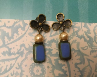 Vintage Style Cornflower Blue and Pearl Czech Glass earrings