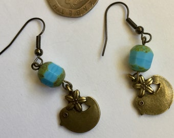 Vintage style bird earrings with pale blue picasso Czech glass beads