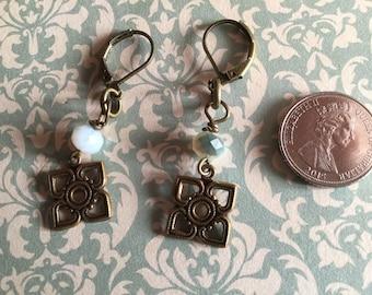 Vintage Style brass flower and Czech Glass rondelle earrings