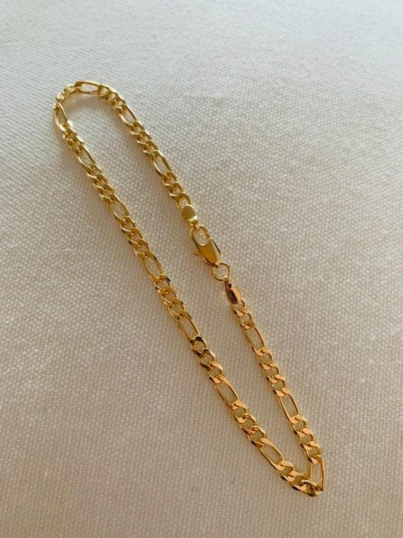 6MM 18k Gold Filled Figaro Anklet \u2022Layering Gold Anklet\u202218K Gold Filled Chain\u2022 Figaro Anklet\u2022 Figaro Chain \u2022 Everyday Anklet \u2022 Body Jewelry