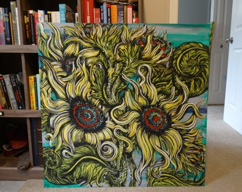 Flowers in the Secret Garden - Original Painting on Canvas