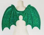 Green Dragon Wings, costume wings, Halloween costume, cosplay demon wings, kids dress up wings