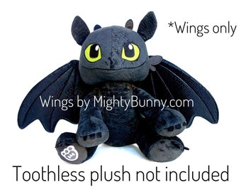 Toy Dragon Wings, Upgraded wings for Build-a-bear Toothless plush, Light fury wings, Night fury wings