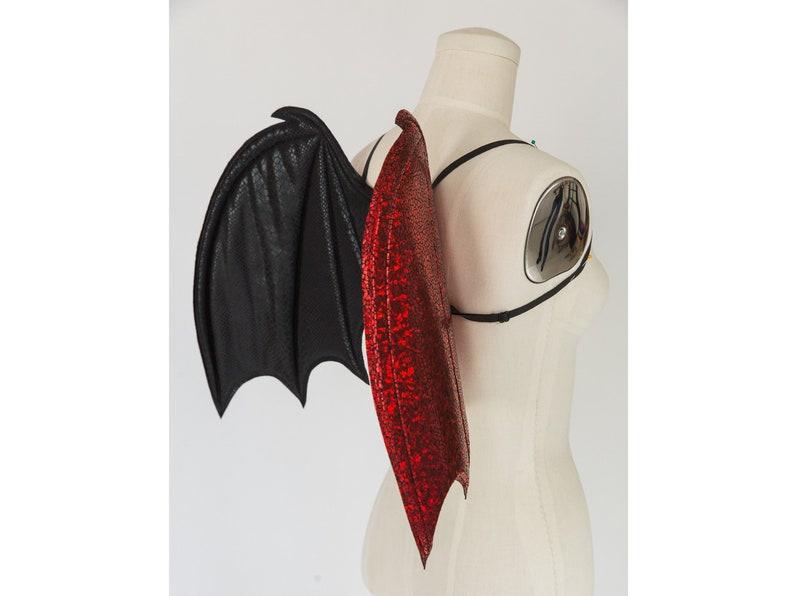 Rosso E Nero Ali Di Pipistrello Ali Costume Costume Di Etsy
