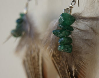 Dark Green Aventurine and Pheasant Feather Earrings, Wire Wrapped,  Handmade with Love and Built to Last.