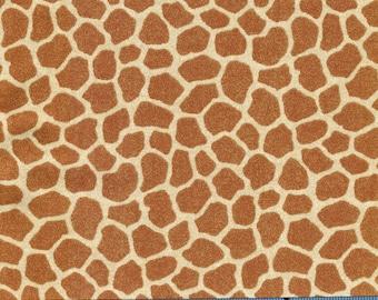 BonEful Fabric FQ Cotton Quilt VTG Cream Brown African Animal Giraffe Skin Print