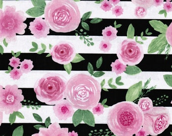 Floral Stripe Fabric Etsy