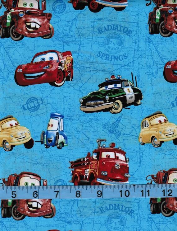 Disney Cars On Blue Map Lightning Mcqueen Mater100 Cotton Etsy