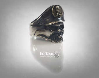 Original Ezi Zino | Vintage Elite German Officer Skull Sterling Silver 925 & Brass Ring