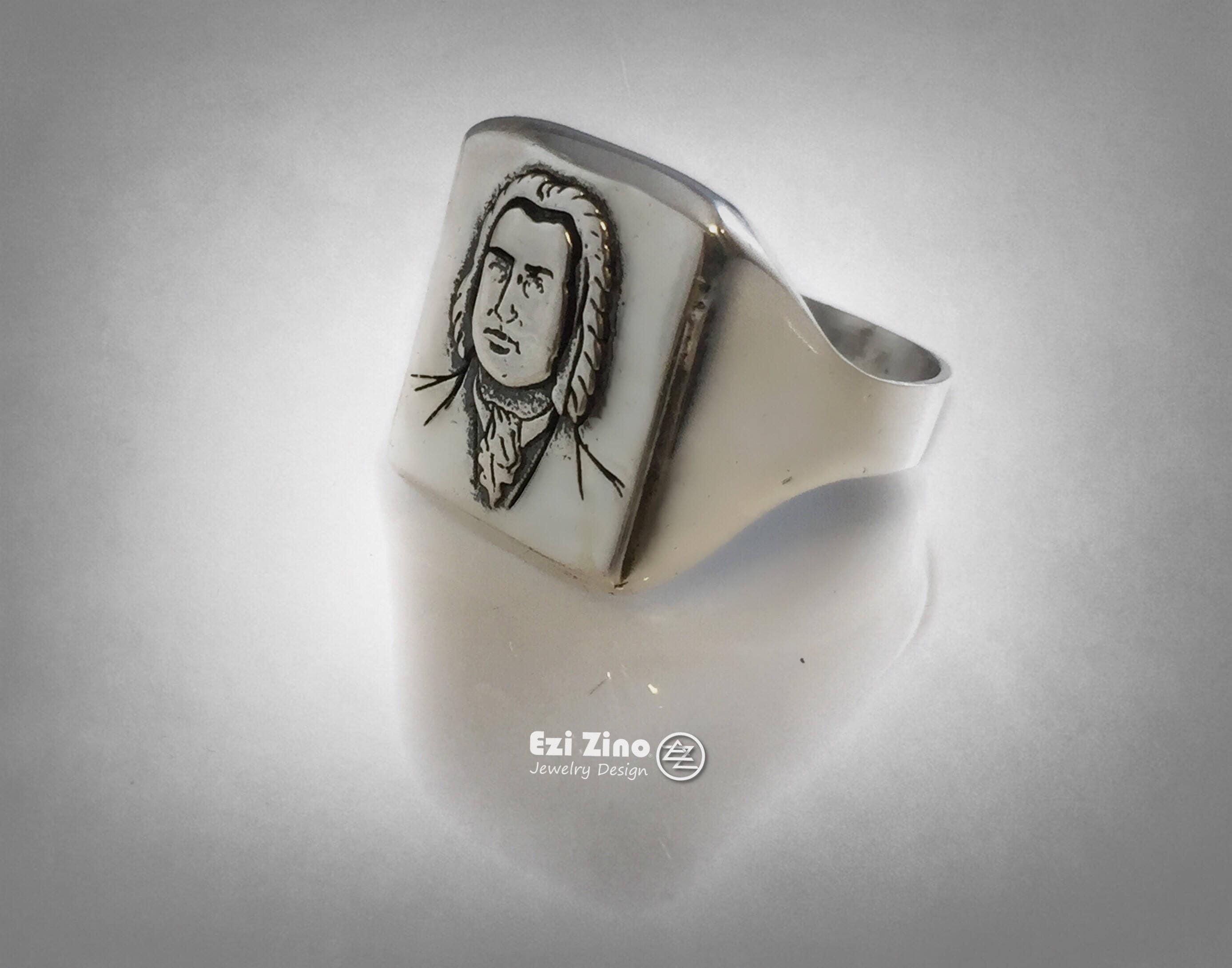 Ludwig Van Beethoven German Composer /& Pianist Ring Solid Sterling Silver 925 By Ezi Zino
