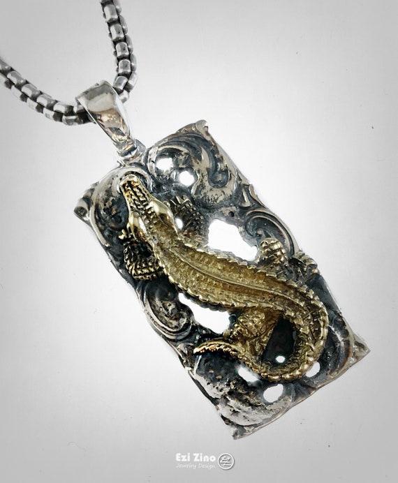 Alligator Tooth Pendant Solid Sterling Silver 925 Ezi Zino Designs Crocodile