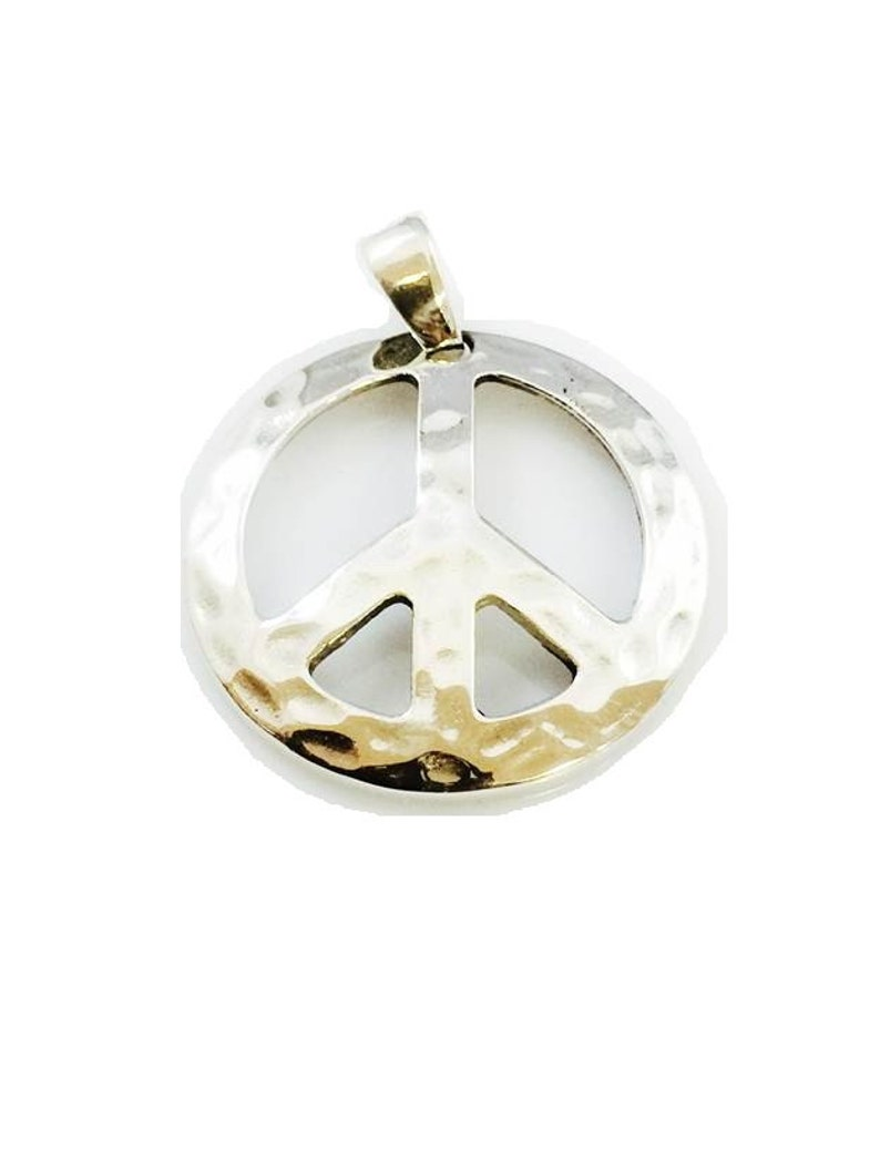 Ezi Zino Design Large Peace Sign Pendant Solid 925 Sterling Silver 12.2 Grams By